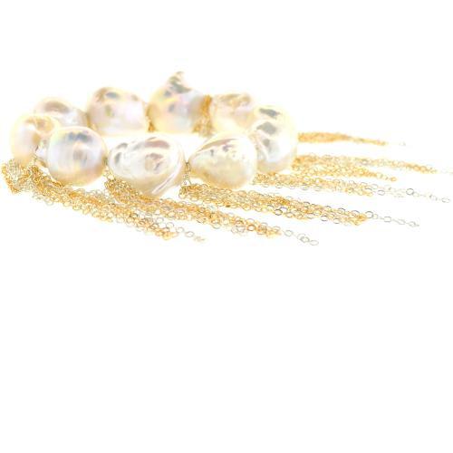 White Baroque Pearl Stellenbosch Bracelet with Sterling Silver & 14-Karat Gold Chains