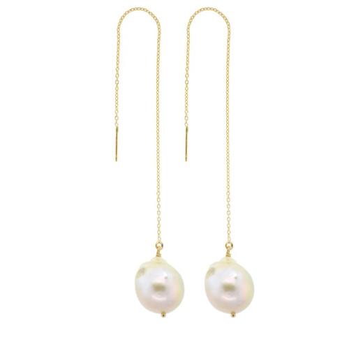 White Baroque Pearl Threader Earrings