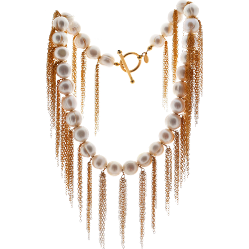 White Potato Pearl Stellenbosch Necklace with Gold Fringe