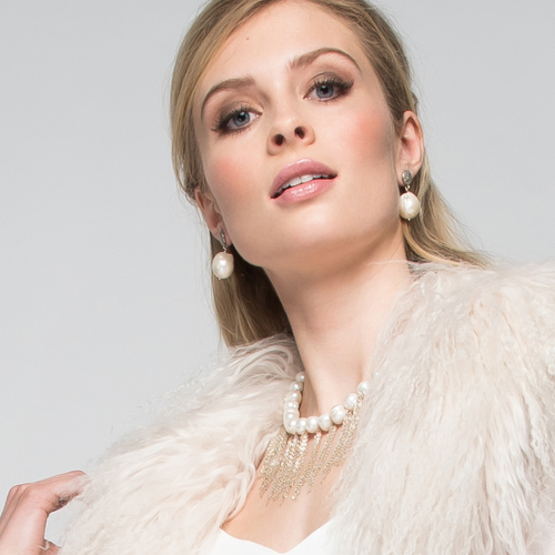 White Potato Pearl Stellenbosch Necklace with Silver Fringe