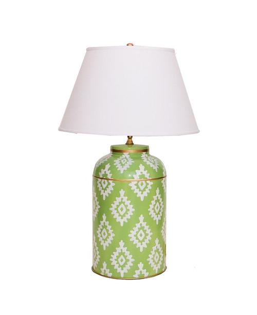Dana Gibson Green Block Print Tea Caddy Lamp