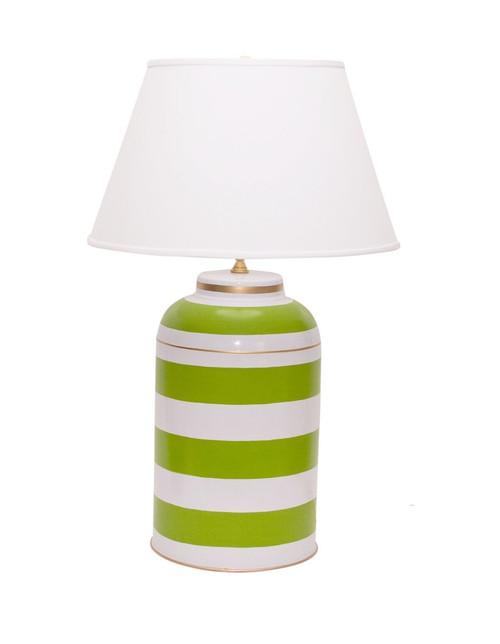 Dana Gibson Green Stripe Tea Caddy Lamp