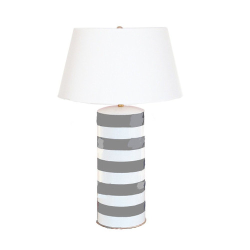 Dana Gibson Grey Striped Stacked Lamp