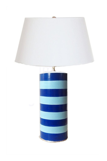 Dana Gibson Tacked Lamp In Turquoise Blue