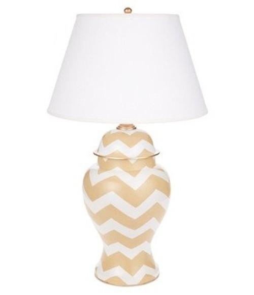 Dana Gibson Taupe Bargello Ginger Jar Lamp
