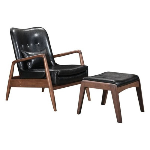 Zuo Modern Bully Lounge Chair & Ottoman Black