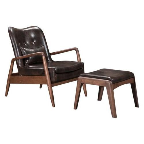 Zuo Modern Bully Lounge Chair & Ottoman Brown