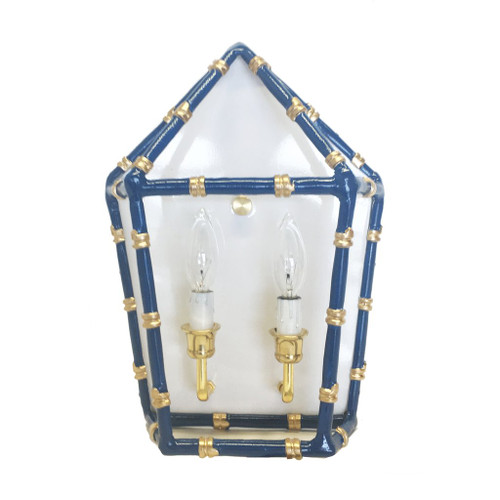Bamboo in Navy Sconce