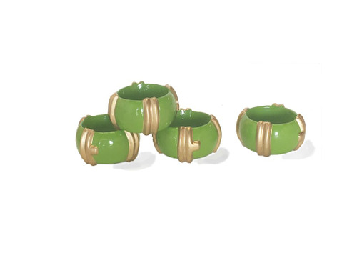 Bamboo Napkin Rings in Green Set of Four