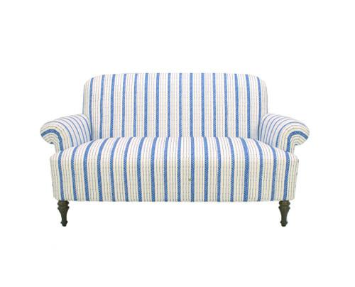 Josie Love Seat in Blue Ticking
