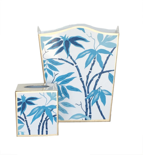 Blue Fontaine Wastebasket and Tissue Box