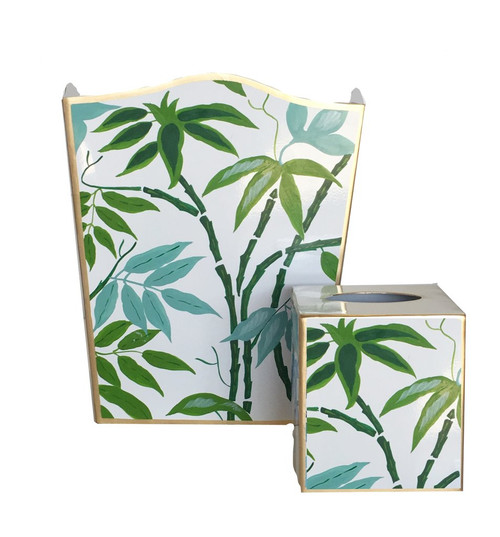 Green Fontaine Wastebasket and Tissue Box