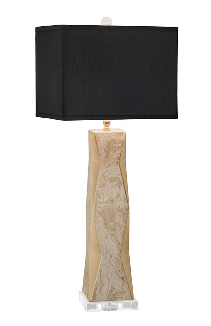 Thumprints Geo Marbled Gold with Black Rectangle Shade Table Lamp