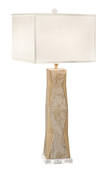 Thumprints Geo Marbled Gold with Off White Square Shade Table Lamp