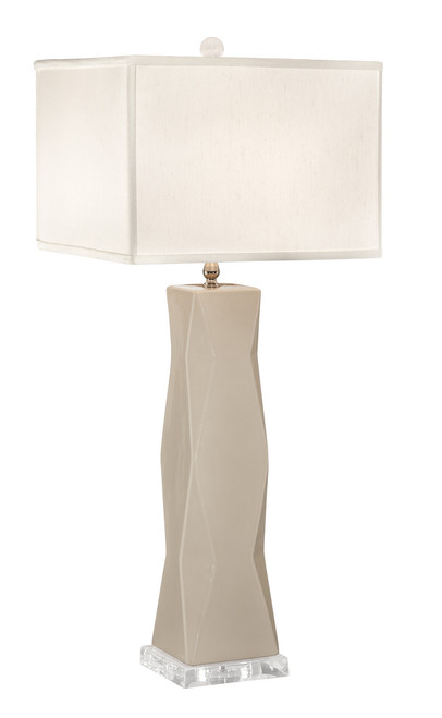 Thumprints Geo Ivory with Off White Square Shade Table Lamp