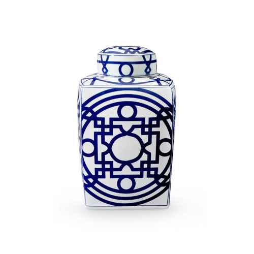 Bungalow, Jasper Square Jar Blue & White JSP-700