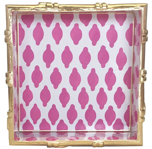 Dana Gibson - Bamboo in Parsi Pink Square Tray