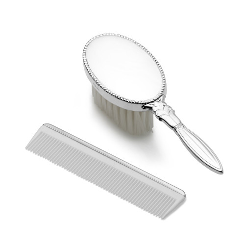 Empire Silver Girls Oval Brush/Comb Set
