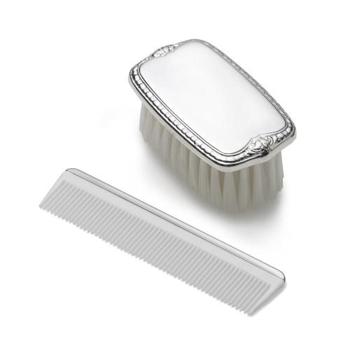 Empire Silver Boys Plain Military Brush/Comb  Set