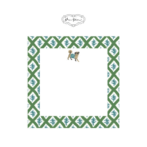 Dana Gibson - Casa Pug Notepad-Green
