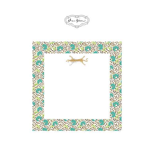 Dana Gibson - Jaipur Leopard Notepad-Turquoise
