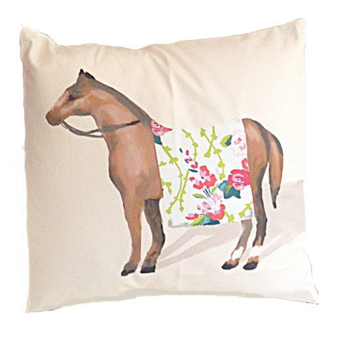 "Dana Gibson Show Horse In Chintz 22"" Pillow"