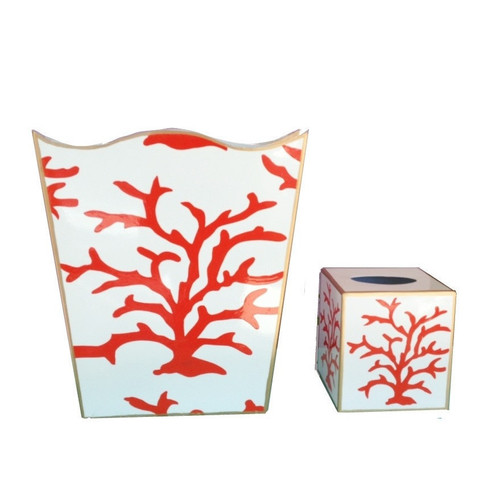 Dana Gibson Coral Coral Wastebasket and Tissue Box