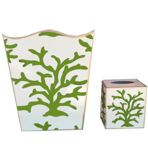 Dana Gibson Green Coral Wastebasket and Tissue Box