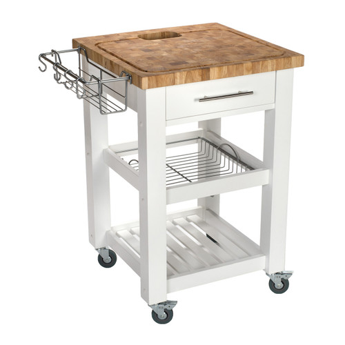 "Chris & Chris Pro Chef 23.63"" x 23.63"" x 35.75"" Food Prep Station - White"