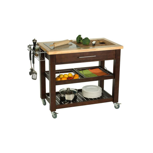 "Chris & Chris Pro Chef 23.63 x 40.5 x 35.75"" Food Prep Station Espresso"