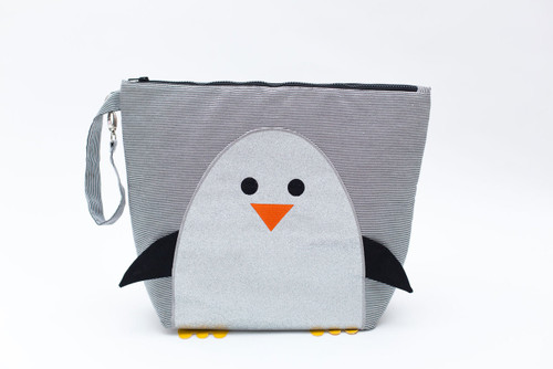Nikiani Sparkle Chili Silver Glitter Penguin Wet Backpack
