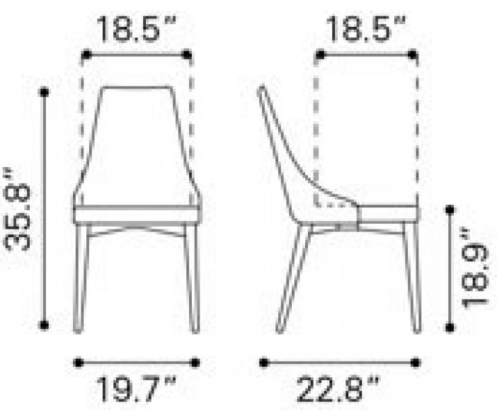 Zuo Modern Moor Dining Chair Beige Dimensions