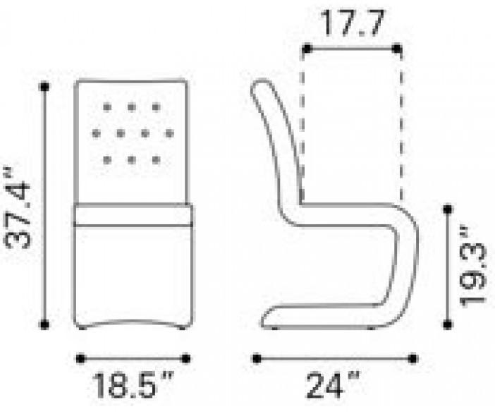 Zuo Modern Hyper Dining Chair Dark Gray Dimensions