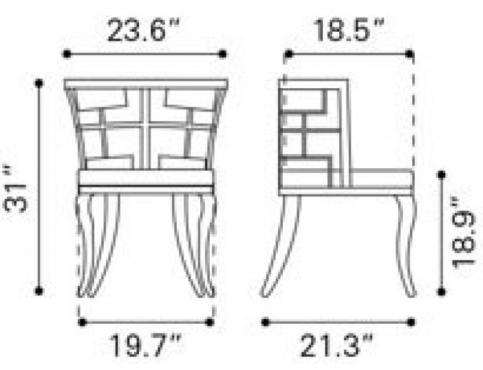 Zuo Modern Quince Dining Chair White Dimensions