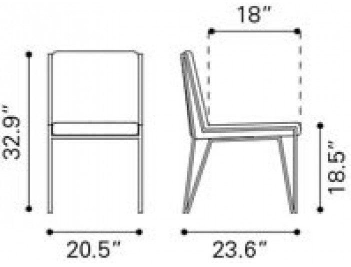 Zuo Modern Kylo Dining Chair White Dimensions