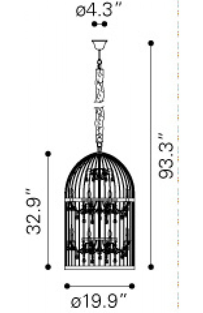 Zuo Modern Canary Ceiling Lamp Dimensions