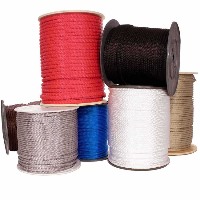 Solid Braid Multifilament Polypropylene Rope - Multiple Colors