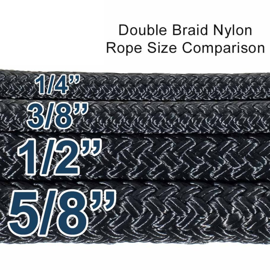 Double Braid Nylon Rope - Multiple Sizes - Chart