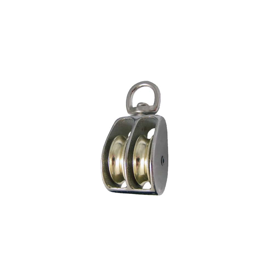 Swivel Eye Double Wheel Pulley - Single