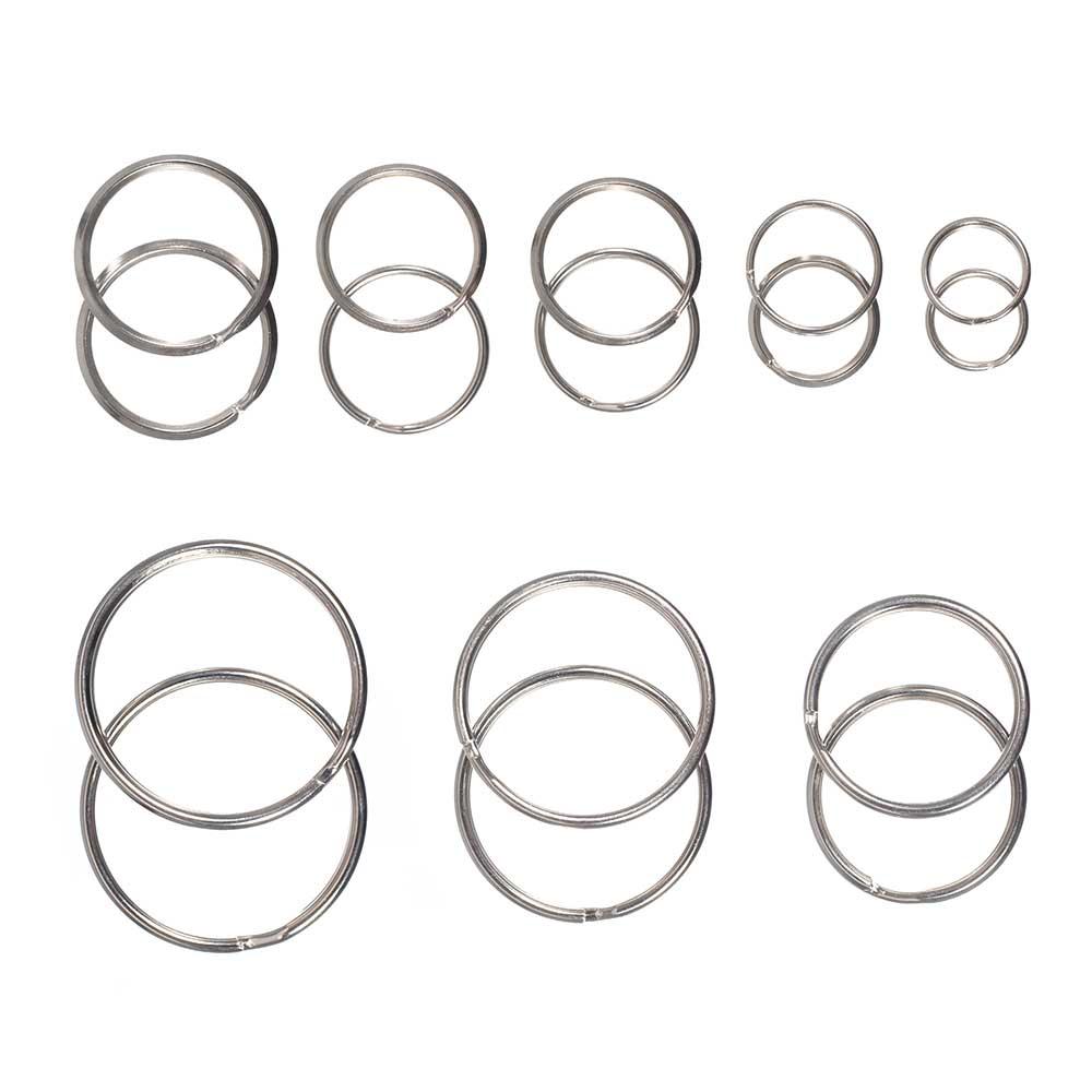Steel Split Key Rings - Polished Nickel