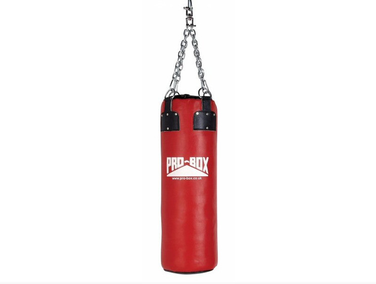 Pro 3ft Box Red Leather Punch bag