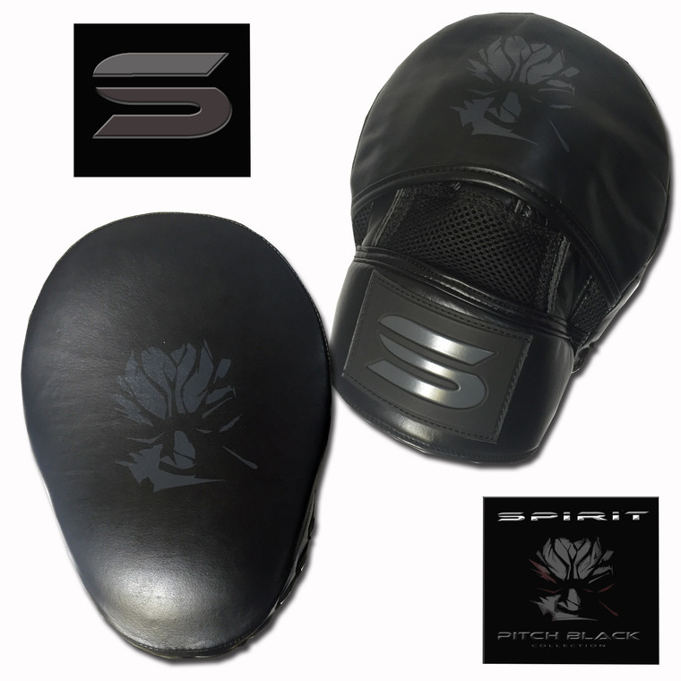 Spirit Pitch Black High Quality Leather Pro Focus Mitts