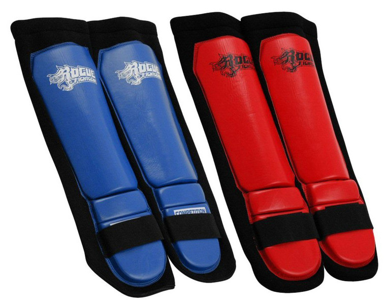 Rogue Leather Neoprene Competition Pro Series MMA Shin Pads With Black Neoprene