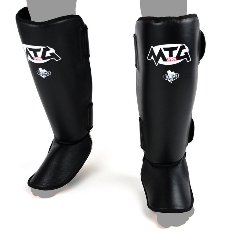 MTG Pro Black Leather Shin Pads