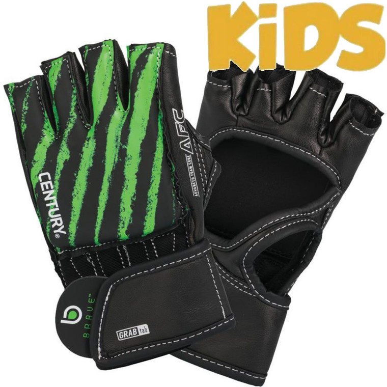 Century Brave Youth Open Palm Gloves Black Green