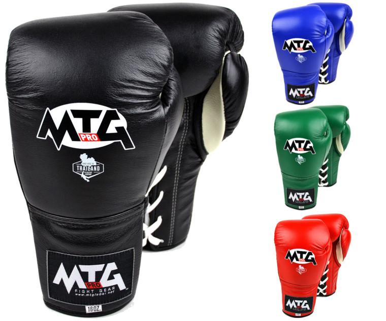 MTG Pro Black Lace up Boxing Gloves