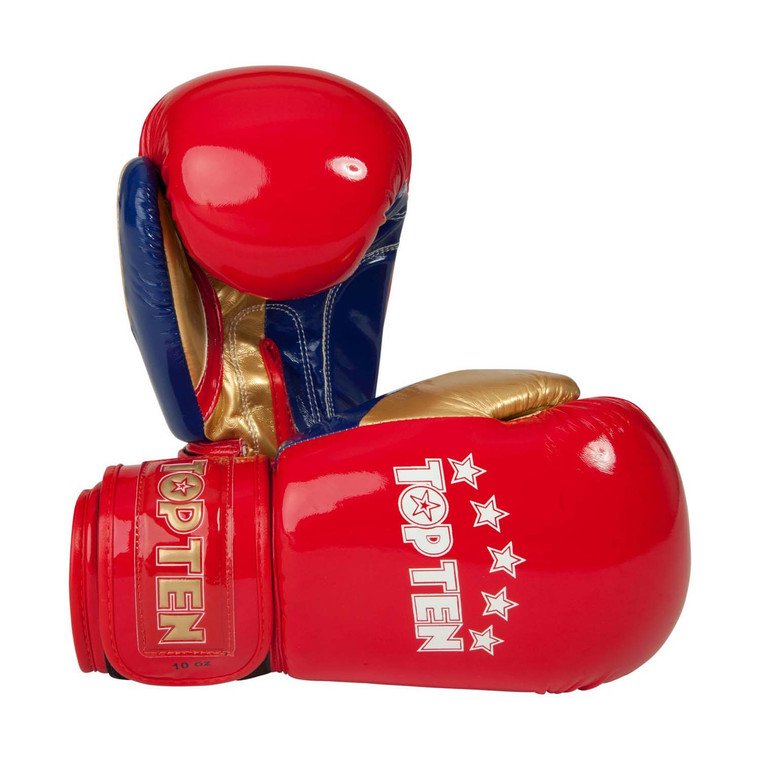 Top Ten Champion Boxing Gloves Red Gold Blue