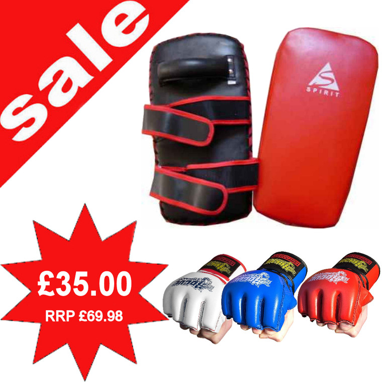 Pair Of Red Spirit Leather Thai Pads With Rogue Leather MMA Gloves