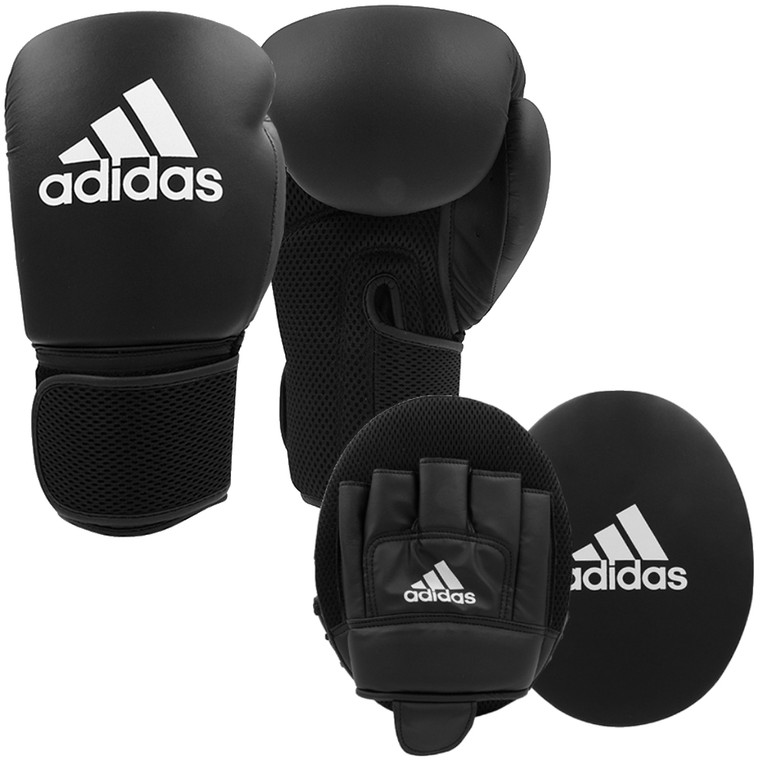 Adidas Adult Boxing Gloves And Focus Mitts Set
