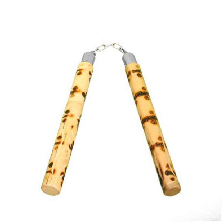 Bamboo Tiger Cane Carved Nunchaku With Chain